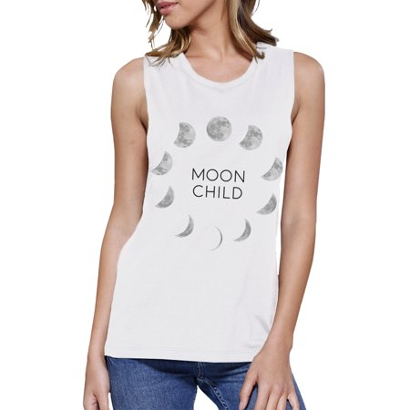 Moon Child Womens Halloween Muscle Top Cute Graphic Muscle T-Shirt
