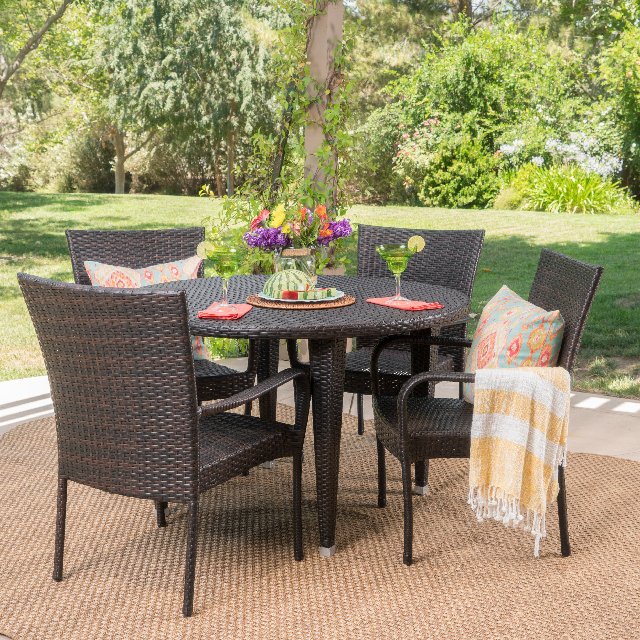 Currington Outdoor 5 Piece Wicker Circular Dining Set, Multibrown