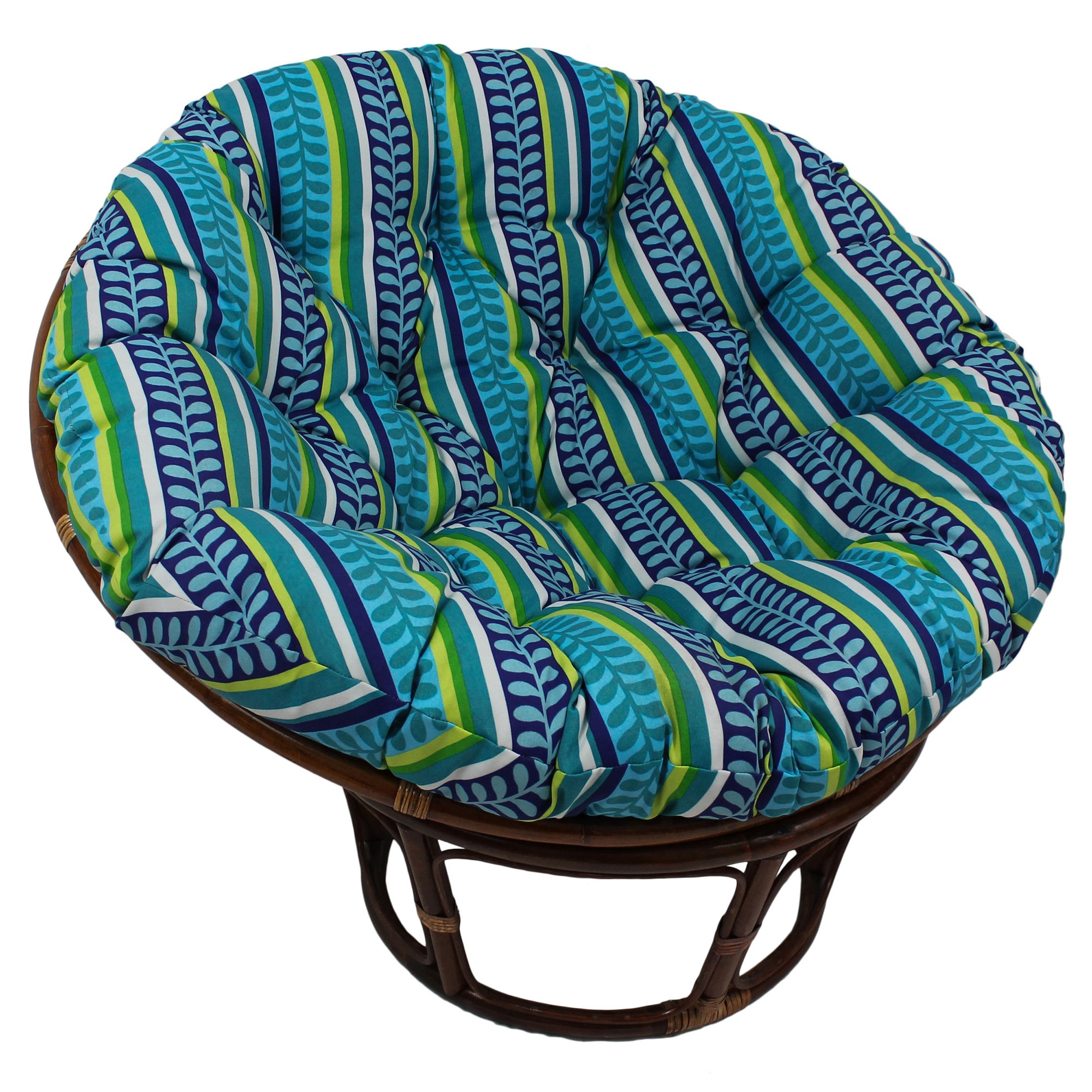Blazing Needles Floral/ Stripe 44-inch Indoor/ Outdoor Papasan Cushion Pike Azure (REO-35)