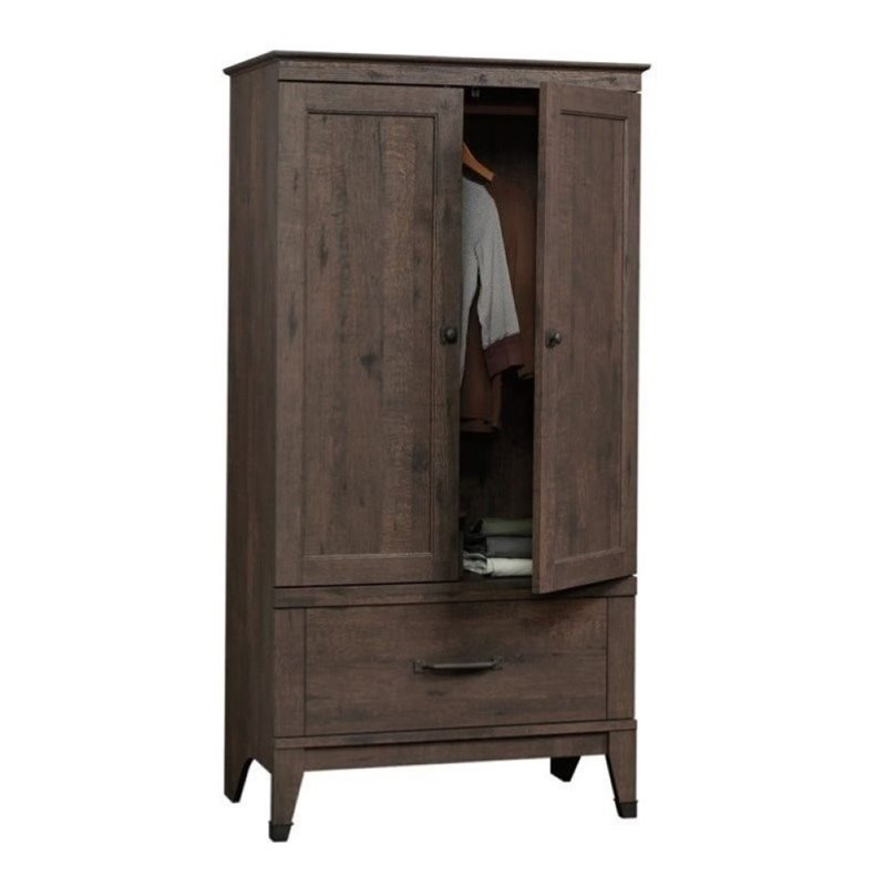 Pemberly Row Armoire Wardrobe Closet with Hanging Rod in ...