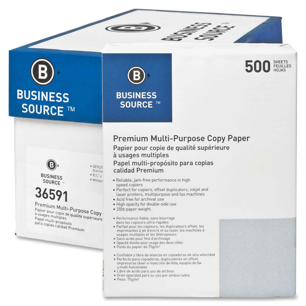 Business Source Premium Multipurpose Copy Paper, 92 Bright, 20lb, 10 Reams, 5000 SHeets carton, White by Business Source