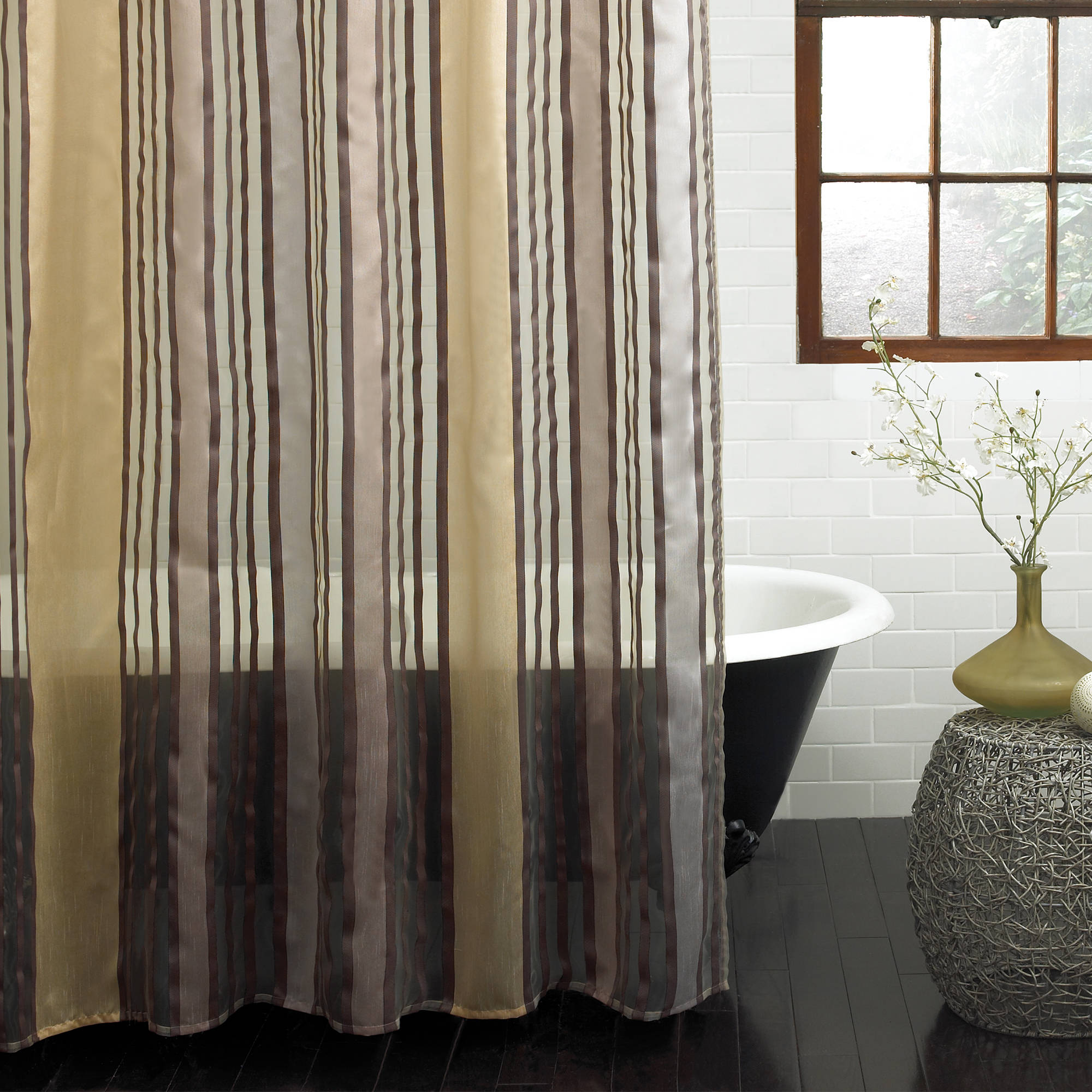 "Excell Butterfield 70"" x 72"" Fabric Shower Curtain, Woven Stripe, Gold"