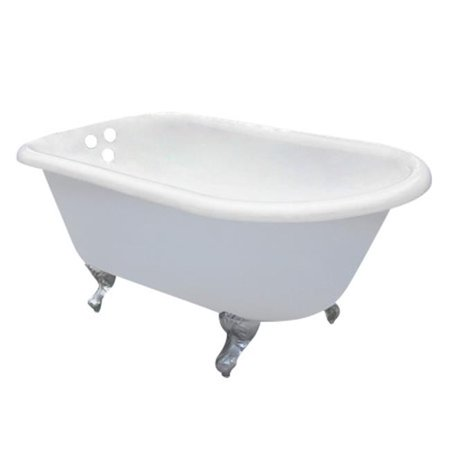 54 in. Aqua Eden Cast Iron Roll Top Clawfoot Tub with 3.37 in. Tub Wall Drillings, White & Polished Chrome
