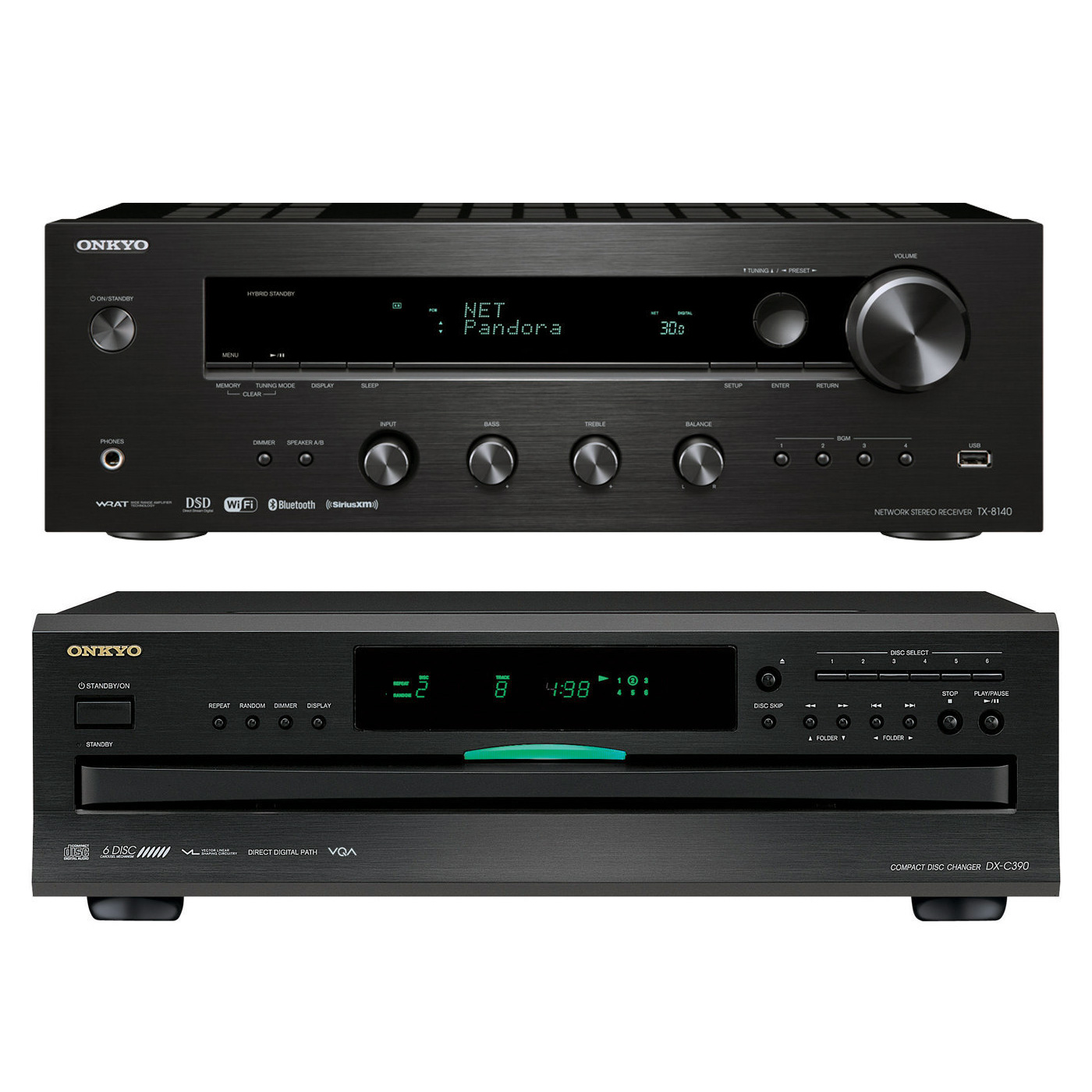 Onkyo TX-8140 Network Stereo Receiver with Built-In Wi-Fi & Bluetooth and DX-C390 6-Disc Carousel CD Player by Onkyo