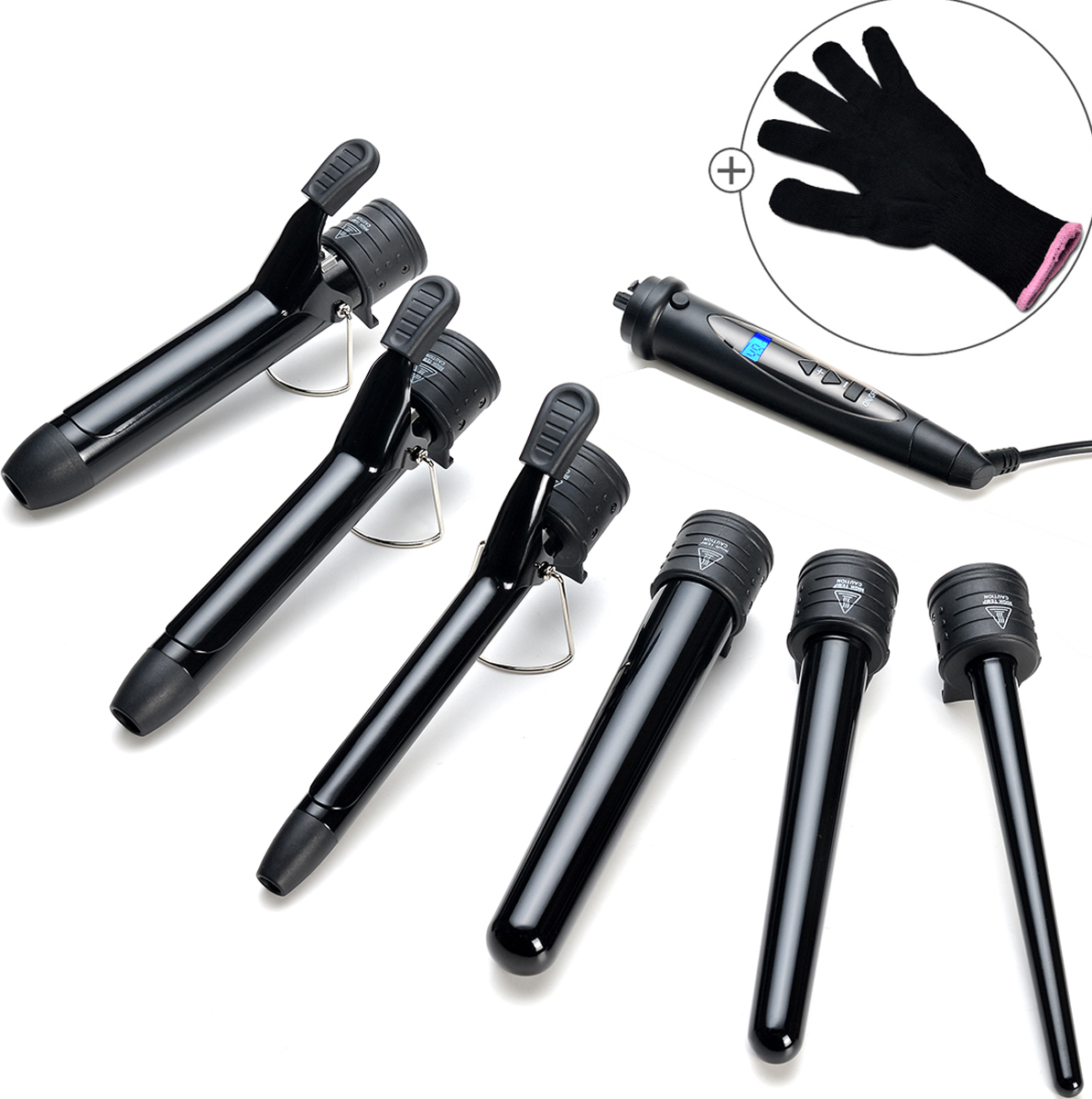 6in1 Electric Hair Curling Iron Wand Automatic Curler Set Wave Machine w/ Heat-Resistant Glove