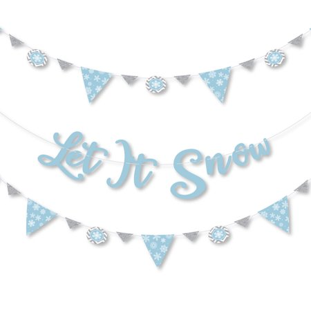 Winter Wonderland - Snowflake Holiday Party and Winter Wedding Letter Banner Decoration - 36 Banner Cutouts