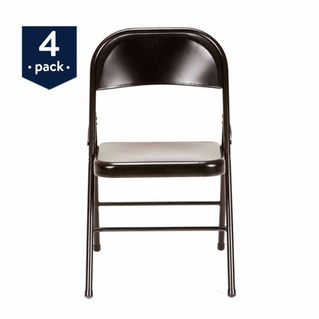 Mainstays Steel Folding Chair (4-Pack), Black