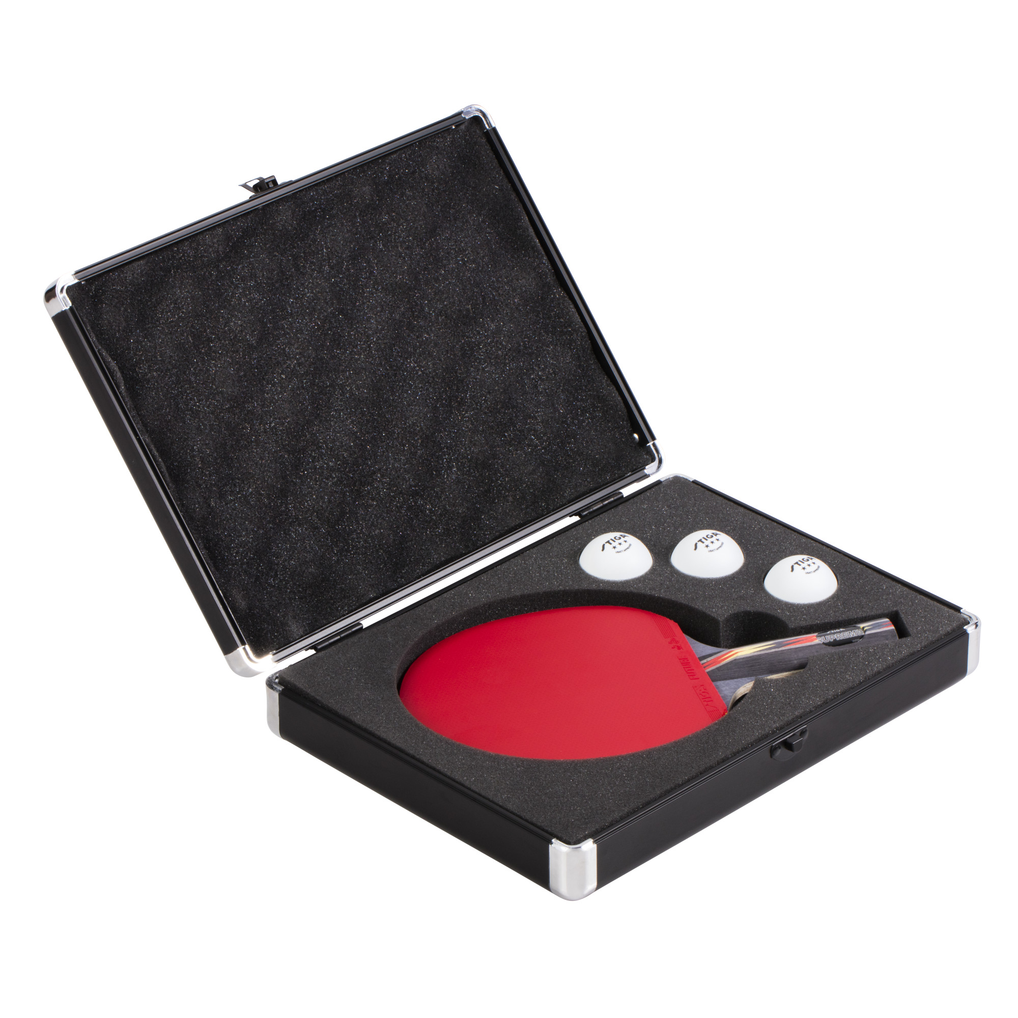 STIGA Aluminum Table Tennis Racket Hard Case Transports and Stores One Racket and Three Balls