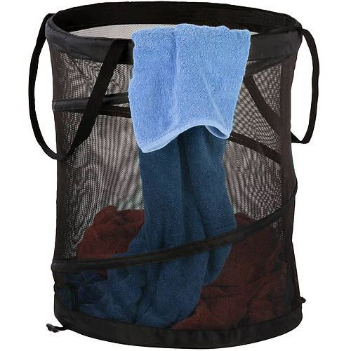 Honey Can Do Medium Mesh Pop-Up Hamper with Handles, Multicolor