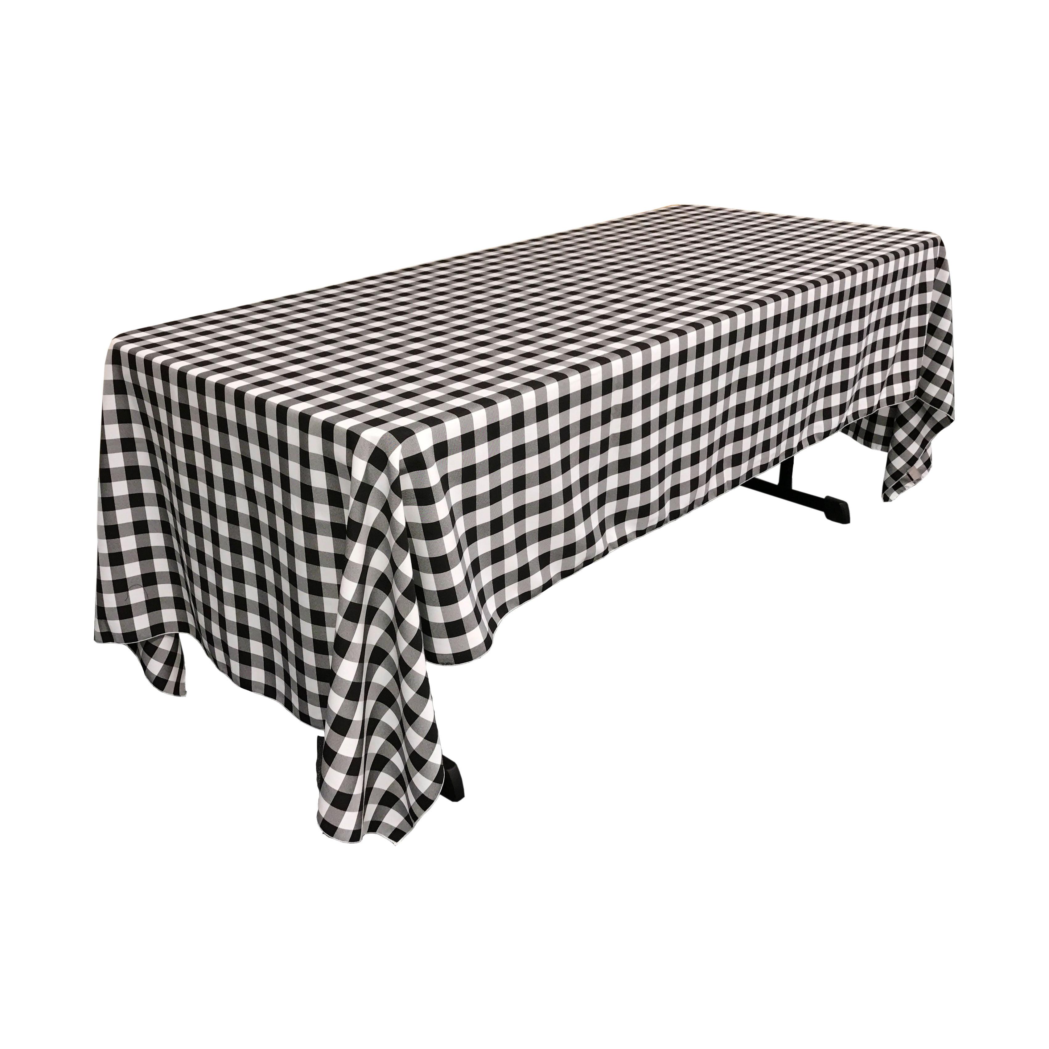 La Linen Polyester Gingham Checkered 60 By 120 Inch Rectangular Tablecloth White And Fuchsia Walmart Com Walmart Com