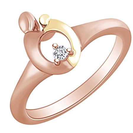 Round White Natural Diamond Accent Mom & Child 14k Solid Rose Gold Two Tone Fashion Ring