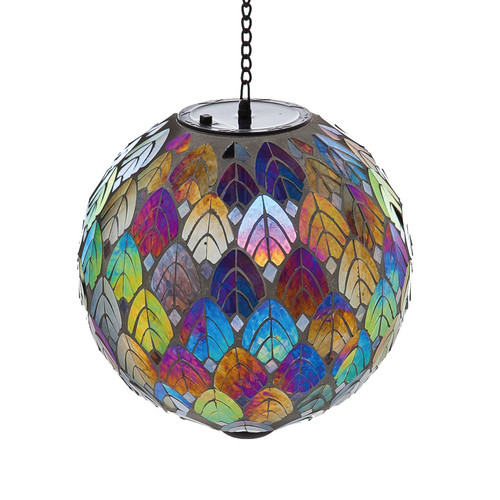 Evergreen Enterprises, Inc Feathered Mosaic Hanging Solar Gazing Ball by Evergreen Enterprises, Inc.