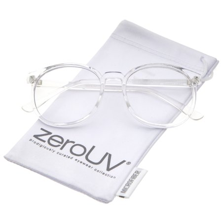 zeroUV - Classic P3 Horn Rimmed Clear Lens Round Eyeglasses 53mm - 53mm A timeless silhouette with modern appeal, these P3 round eyeglasses feature horn rimmed details and clear round lenses. With it's high sitting temples and minimal design, these eyeglasses offer a stylish and sophistcated touch to any style. Made with a plastic based frame, metal hinges, and polycarbonate UV400 clear lenses.