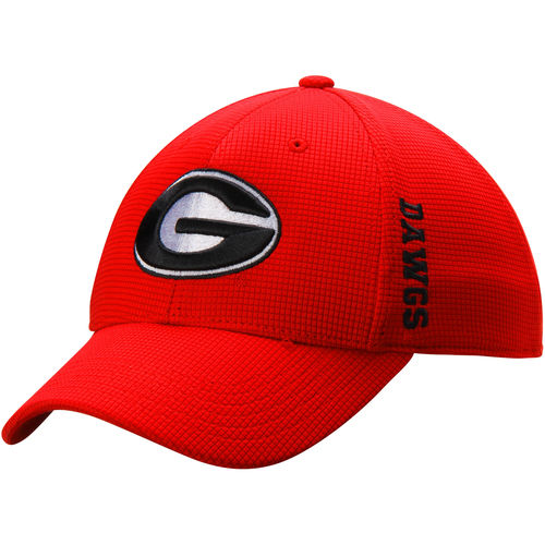 Men's Top of the World Red Georgia Bulldogs Booster Plus Memory 1Fit Logo Flex Hat