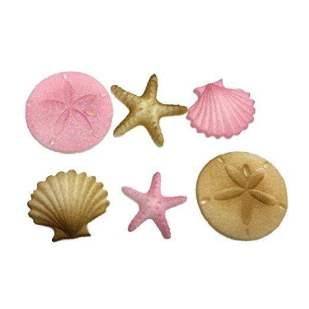 12pk Beach Sea Shell Star Fish Comber (Light Pink) Cake Cupcake Sugar Decoration Toppers](Beach Cake Topper)