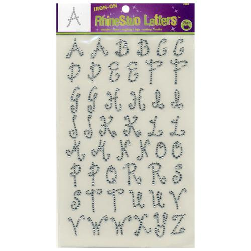 """Iron-On Rhinestud Letters 1"""" Curly-Crystal"""