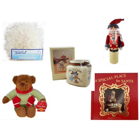 - Christmas Fun Gift Bundle [5 Piece] -  Arctic Fun Snowflake Ornaments 10 Pack - Wine Gift Box Snowman - Short Candle Jars