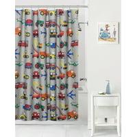 Mainstays™ Kids Transportation Grey Fabric Shower Curtain