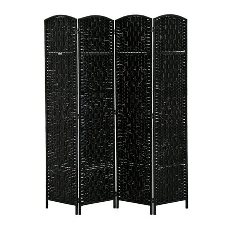 - HOMCOM 6' Tall Wicker Weave Four Panel Room Divider Privacy Screen - Black Wood