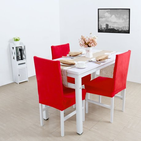 Unique bargains stretch thicken plush short dining room chair covers seat protector slipcovers red - Plush dining room chairs ...