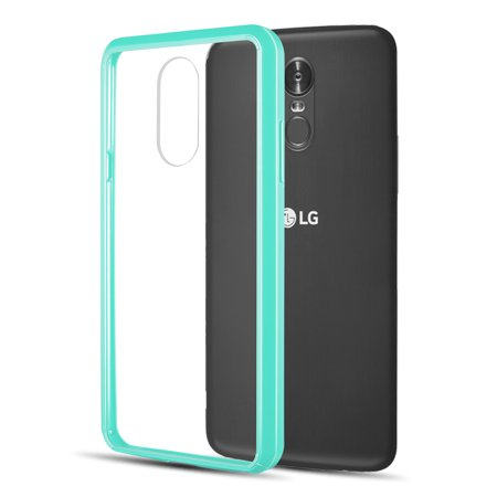 Slim Crystal Clear Hybrid Drop Protection Cover Case with Atom Cloth for LG Stylo 4+ Plus/LG Stylo 4 (2018) - Aqua Teal Green