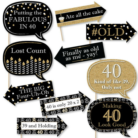 Funny Adult 40th Birthday - Gold - Birthday Party Photo Booth Props Kit - 10 Count - Birthday Party Stores