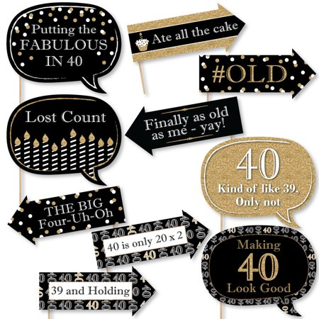 Funny Adult 40th Birthday - Gold - Birthday Party Photo Booth Props Kit - 10 Count (Adult Birthday Party Supplies)