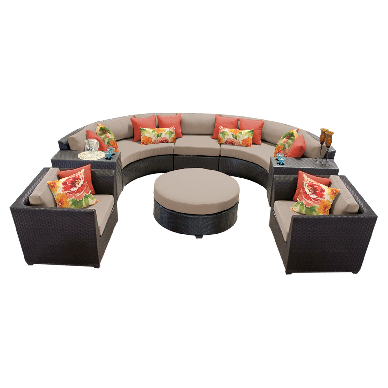 TK Classics Barbados Wicker 8 Piece Patio Conversation Set with Round Coffee Table and 2 Sets of Cushion Covers