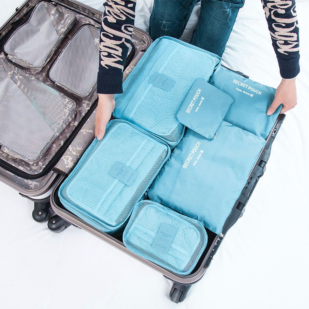 6 Pcs/Set Square Travel Luggage Storage Bags Clothes Organizer Pouch Case