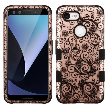 Google Pixel 3 Case, by Insten Tuff Lace Flower Hard Plastic/Soft TPU Rubber Dual Layer [Shock Absorbing] Hybrid Case Cover For Google Pixel 3