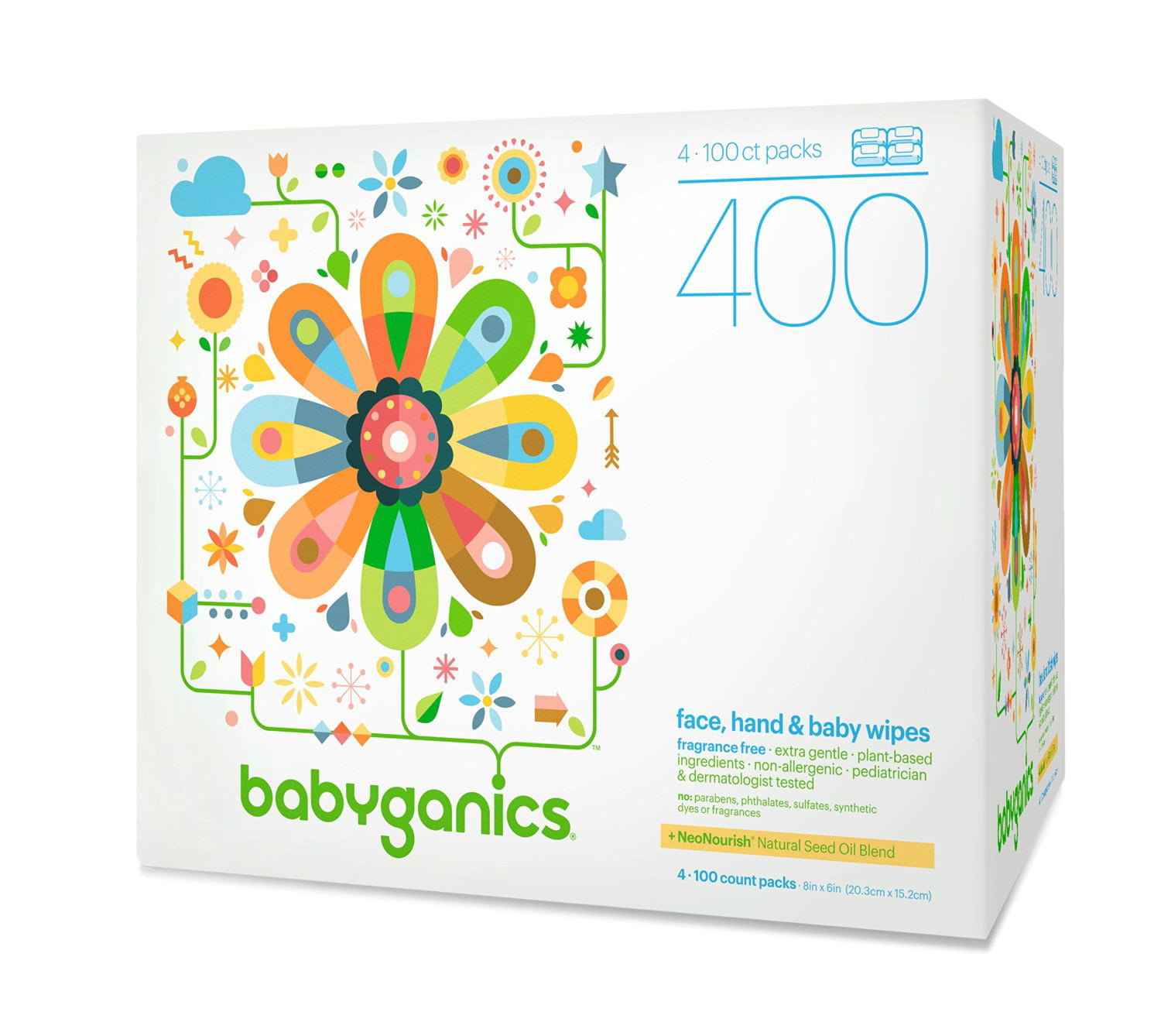 Babyganics Face, Hand & Baby Wipes, Fragrance Free, 400 Count (Contains Four 100-Count Packs) by BabyGanics