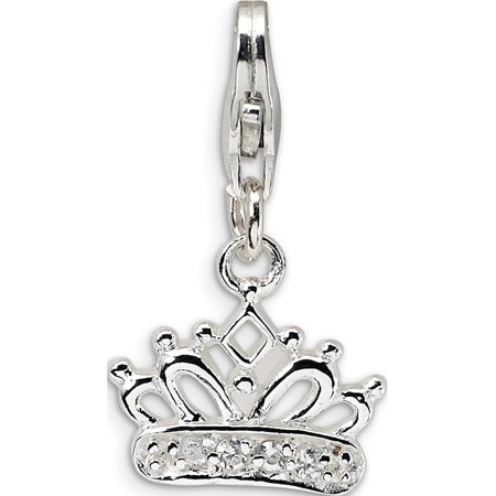 925 Sterling Silver CZ Crown w/Lobster Clasp (13x23mm) Pendant / Charm - image 1 of 1
