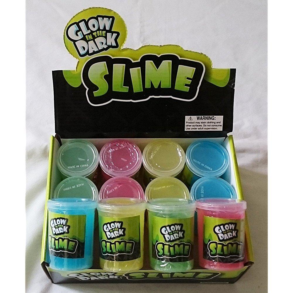 Box of 12 Glow in the Dark Slime Green Pink Yellow & Blue Silly Putty Slime