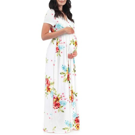 Women Pregnant Maternity Boho Floral V-Neck Short Sleeve Summer Maxi Dress Party Sleeve Belted Maternity Dress