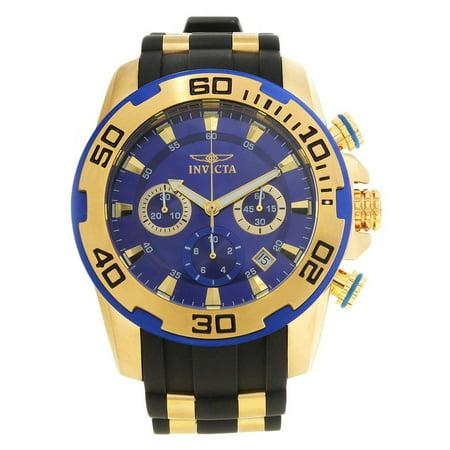 Men's 50mm Pro Diver Gold-Tone Polyurethane Quartz Blue Dial Watch (Best Ftxj Popular Watches)