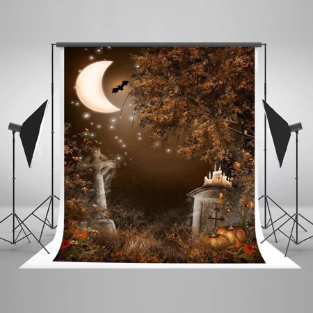 HelloDecor Polyster 5x7ft Photography Backdrops Moon Night Cat Bats for Halloween Party Photo Booth Props (Bts Halloween Photos)