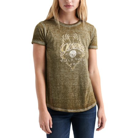 Lucky Brand Womens Journey World Tour 1980 Glitter Faded Graphic T-Shirt Green Womens V-neck T-shirt