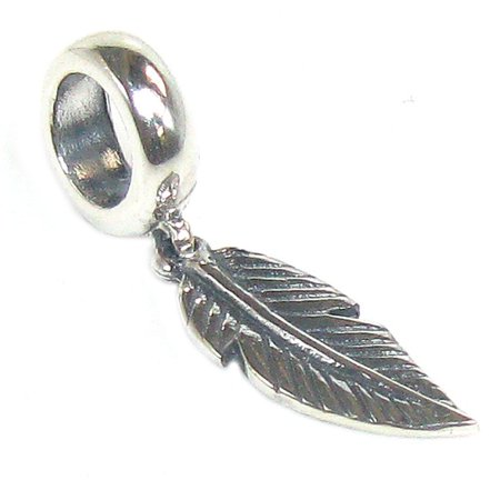 Queenberry  Sterling Silver Angel Feather Dangle Bead Charm Fits Pandora