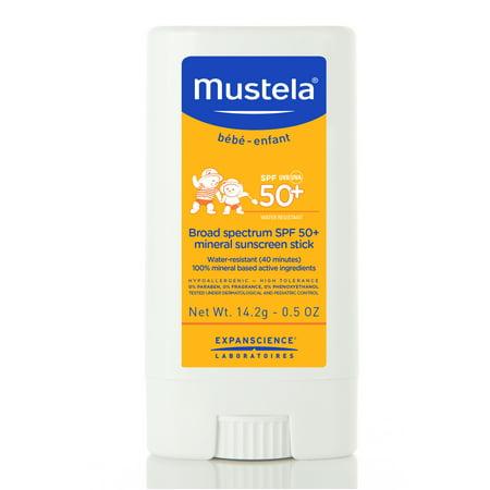 Mustela Baby Broad Spectrum SPF 50+ Mineral Sunscreen Stick, 0.5 Oz