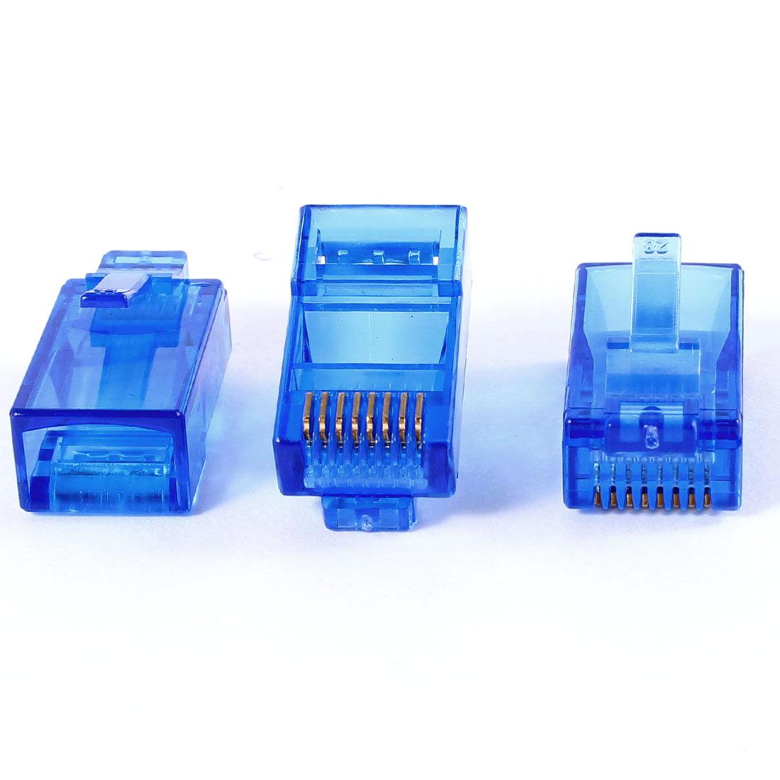 Unique Bargains 3x RJ45 8P8C Network Cable CAT5E Connector Crimp Plug Jack Adapter Dark Blue