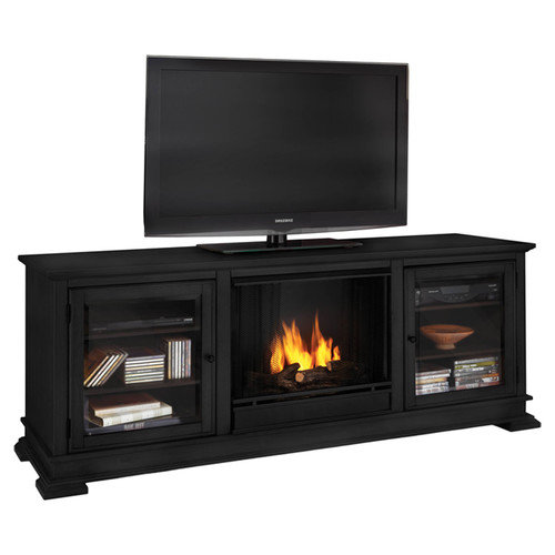 Real Flame Hudson Ventless TV Stand with Electric or Gel Fuel Fireplace