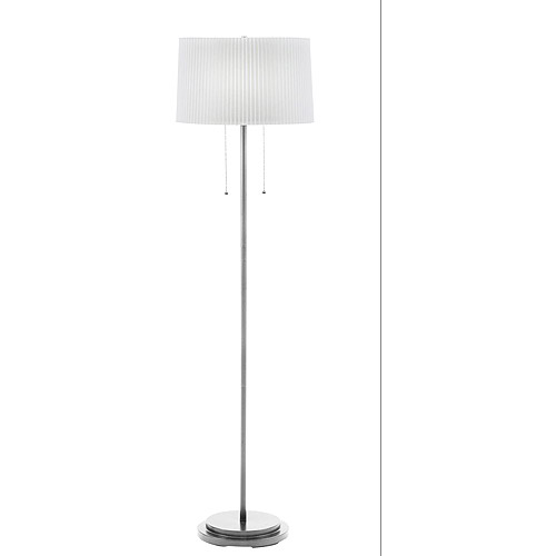 Brushed Steel Dual Light Floor Lamp