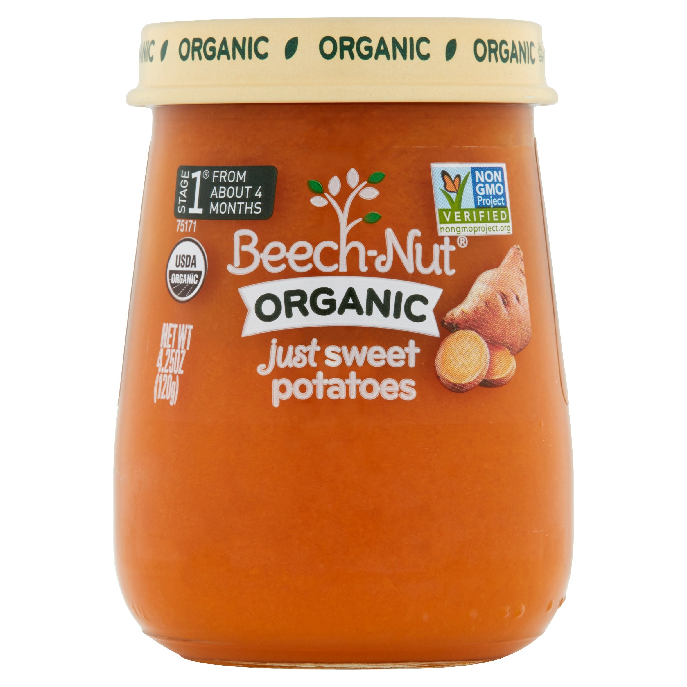 Beech-Nut Organic Stage 1 Just Sweet Potatoes Baby Food, 4.25 oz, (Pack of 10)