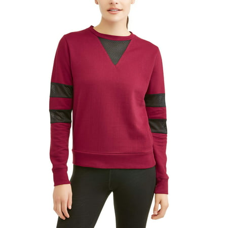 Thrill Women's Active Fleece Pullover Sweatshirt With Sporty Mesh Side Stripes