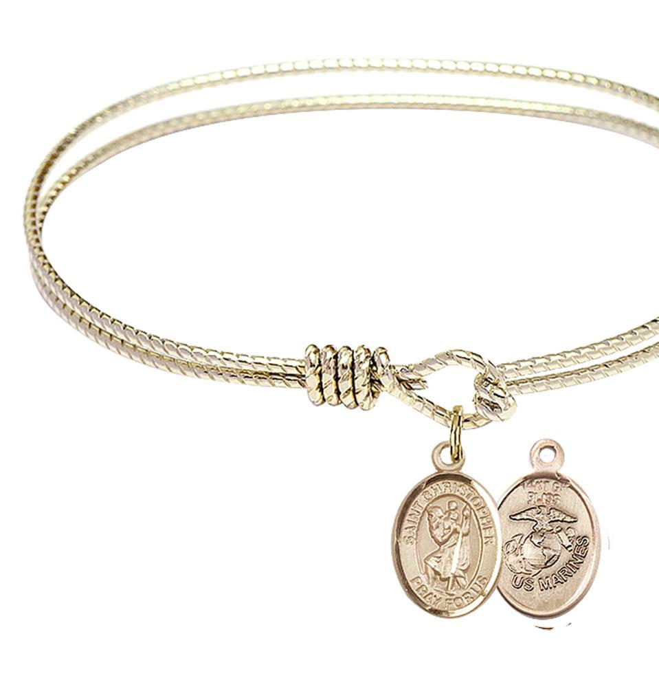 Christopher//Marines Charm. DiamondJewelryNY Eye Hook Bangle Bracelet with a St