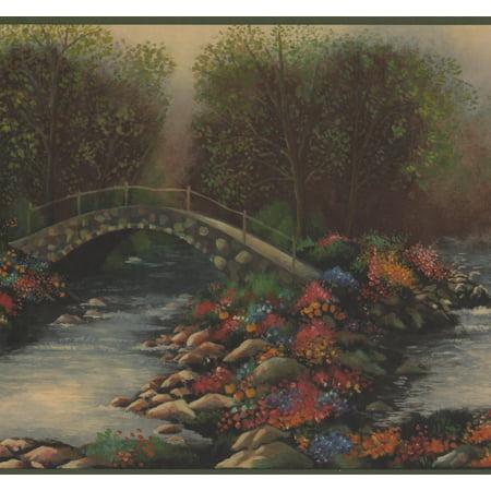 Green Nature Forest Creek Bridge Flowers Wide Wallpaper Border Retro Design, Roll 15