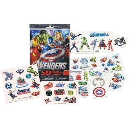 Marvel AVENGERS Temporary Tattoos - 50 Tattoos - Iron Man, Thor, Hulk, Captain America and more! by - Avengers Tattoo