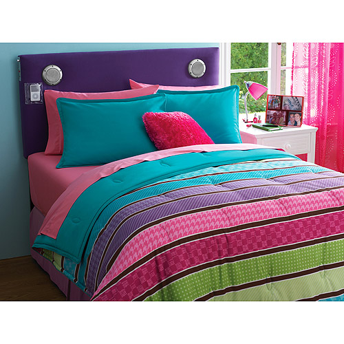 your zone reversible comforter & sham set, multi pop stripe