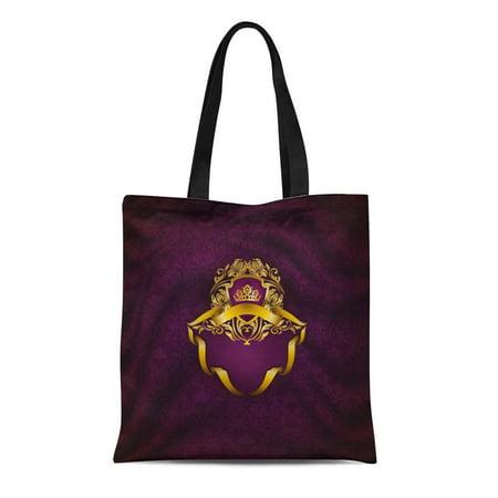 KDAGR Canvas Tote Bag Elegant Golden Floral Filigree Gold Crown Shield Ribbons Place Durable Reusable Shopping Shoulder Grocery Bag ()
