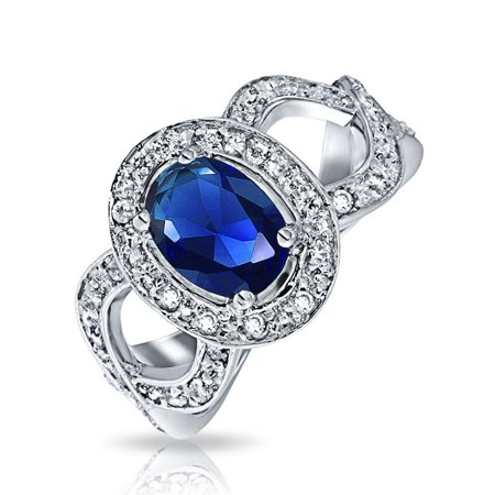 Vintage Style Oval Solitaire Halo Blue Simulated Sapphire Engagement Ring For Women 925 Sterling Silver